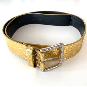 WCM NY Metallic Gold Size L Italian Leather Belt